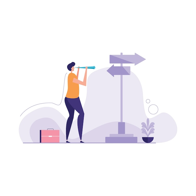 Searching for the right way illustration Premium Vector