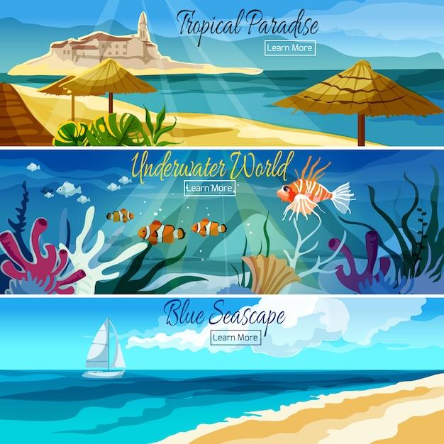 Seascape banner set Free Vector