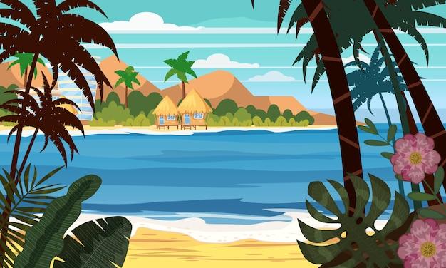 Seascape beach landscape ocean Premium Vector