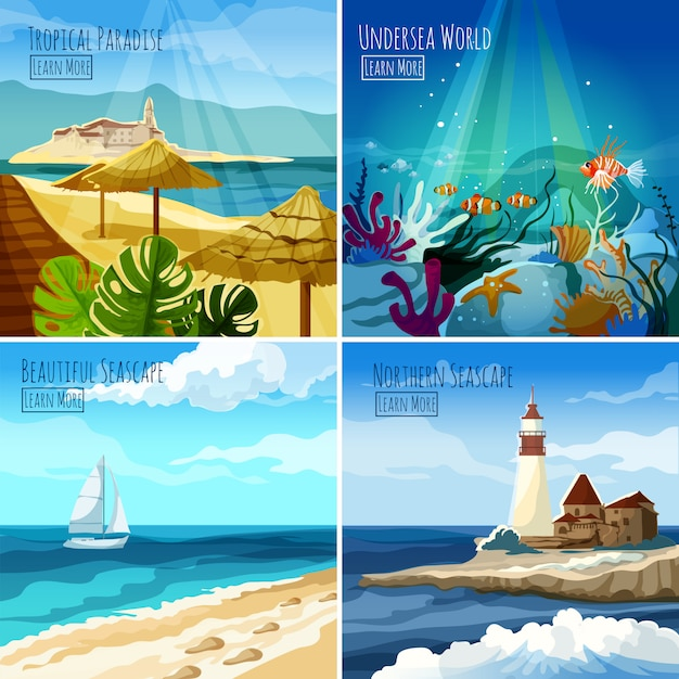 Seascape illustrations set Free Vector