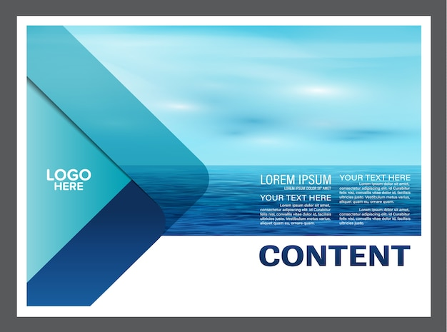 Seascape and sky flyer brochure template Premium Vector