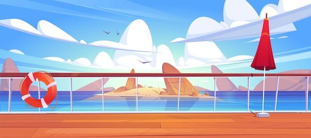 Вид на морской пейзаж с палубы круизного лайнера Бесплатные векторы