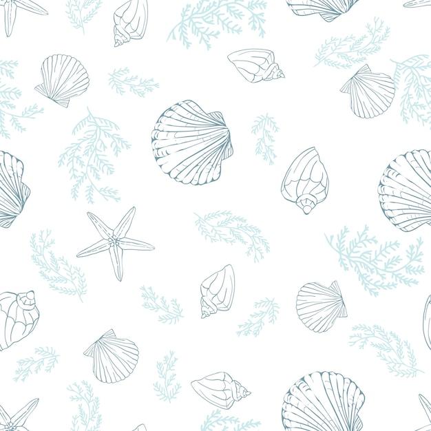 Seashell seamless pattern. Premium Vector