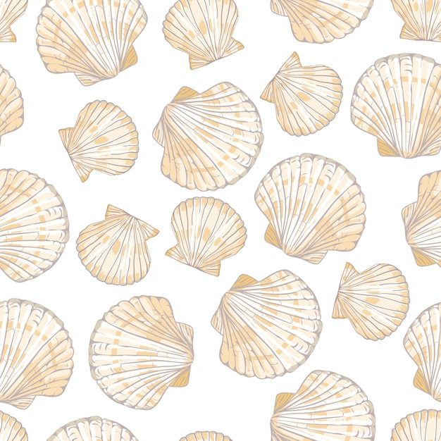 Seashell seamless pattern. Premium Vector