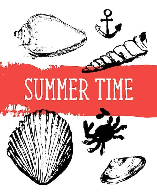 Картина seashells безшовная, вектор, иллюстрация. морской. Premium векторы
