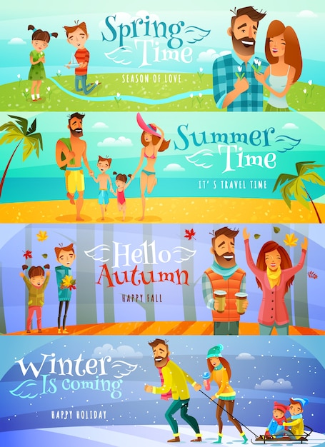 Season family banners Free Vector