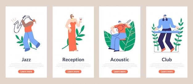 Season poster jazz, reception, acoustic, club Premium Vector