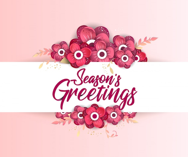 Season's greeting template Premium Vector