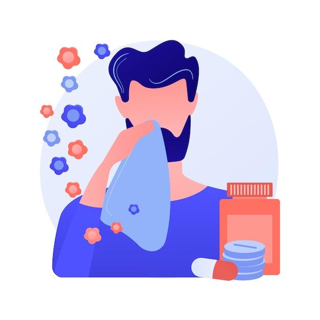 季節性アレルギー抽象的な概念ベクトルイラスト。花粉アレルギー免疫療法、アレルギー性疾患の診断、季節性アレルギー検査、鼻づまり、専門家によるカウンセリングの抽象的な比喩。 無料ベクター