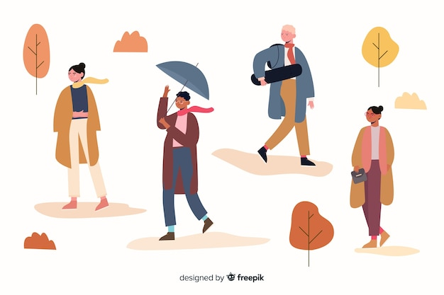 Seasonal autumn clothing collection illustration Free Vector