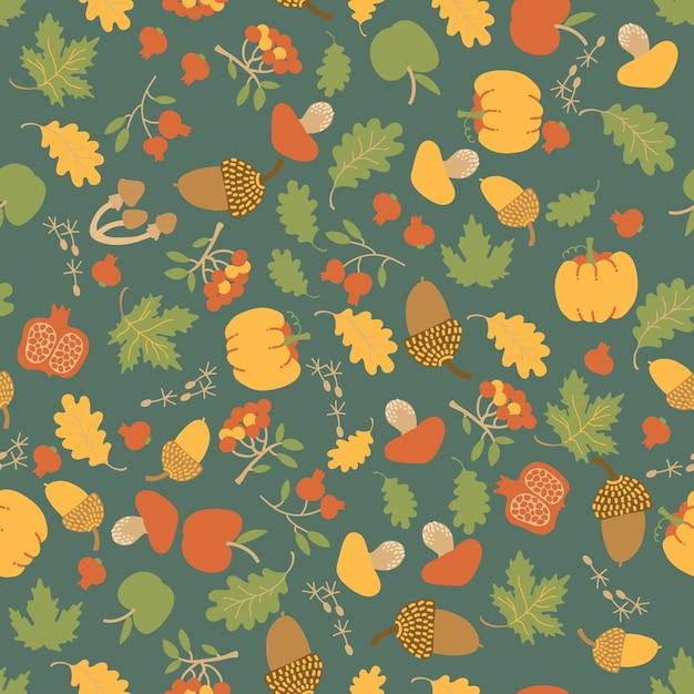 단풍 나무 오크 잎, 호박, 사과, 딸기, 버섯, 도토리와 계절 가을 꽃 원활한 패턴 무료 벡터