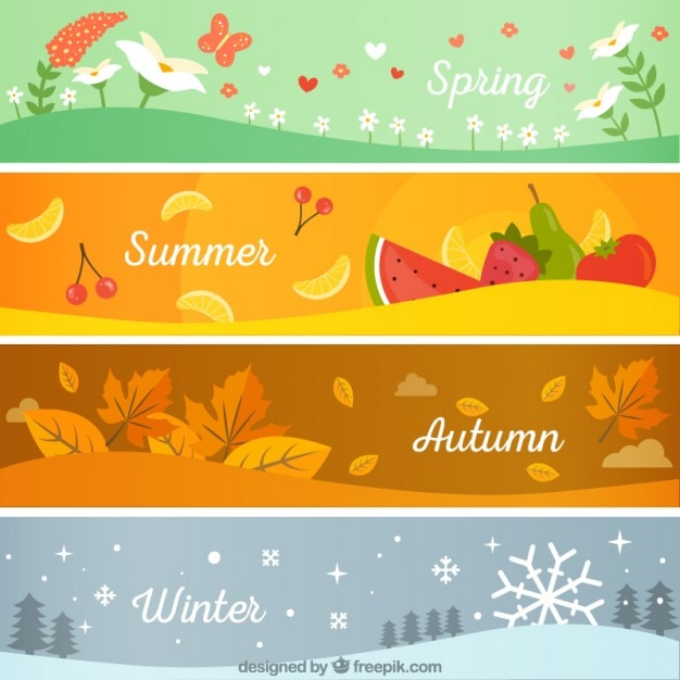 Seasonal banners pack vector free download for 4 seasons decoration