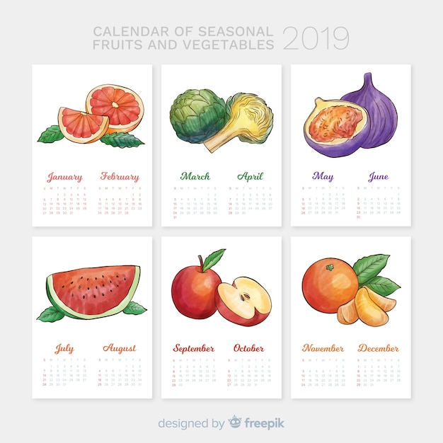 Free Vector Seasonal Calendar Of Vegetables And Fruits