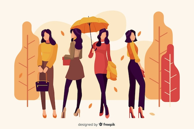 Seasonal clothing for autumn illustration Free Vector