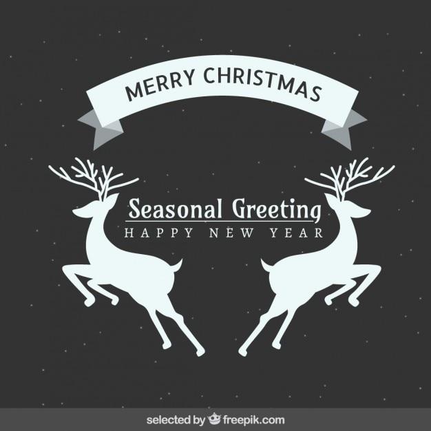 Seasonal deers christmas greeting Free Vector