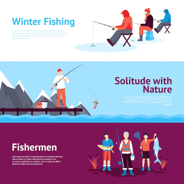 Seasonal fishing horizontal banners set Free Vector