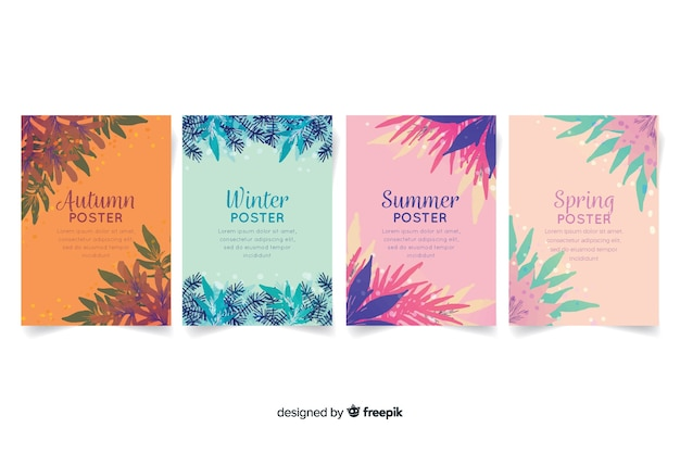 Seasonal poster collection in watercolor style Free Vector