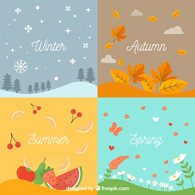 Seasonal related backgrounds Free Vector