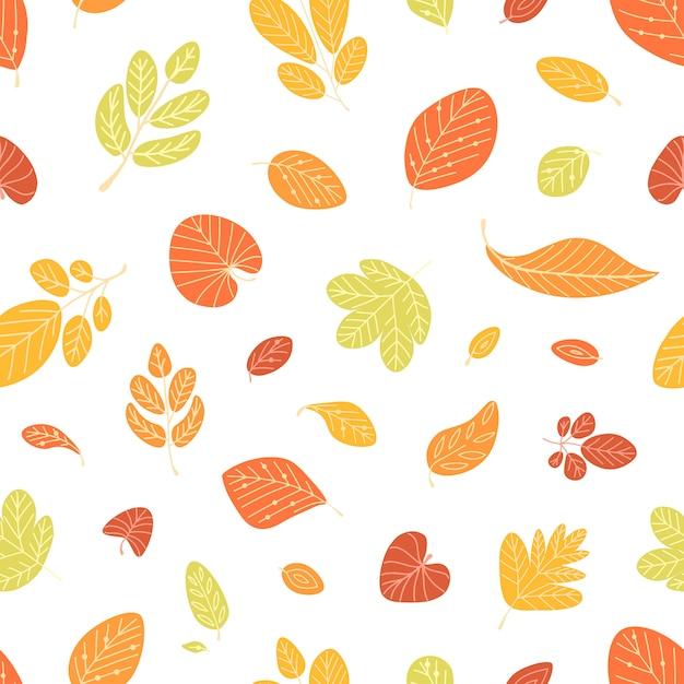 白い背景の上の秋の落ち葉と季節のシームレスパターン Premiumベクター
