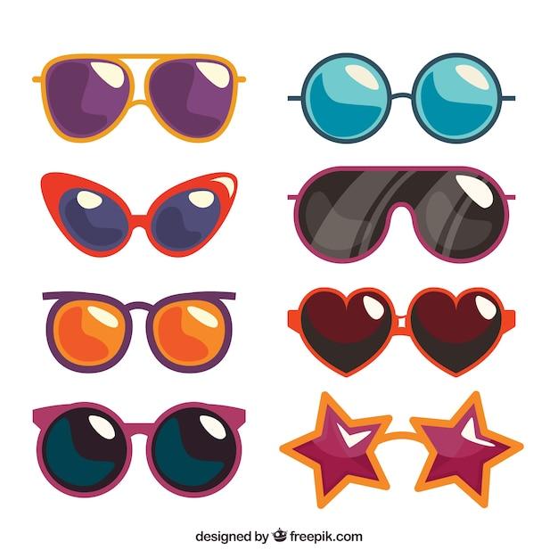 Collezione stagionale di occhiali da sole in stile flat Vettore gratuito
