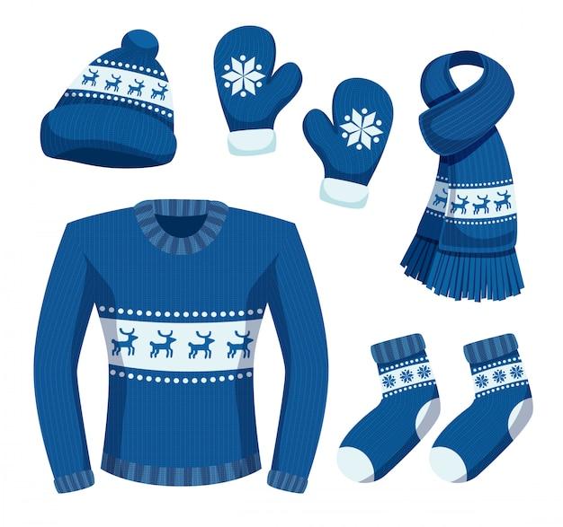 I vestiti stagionali dell'inverno hanno messo con le immagini isolate degli oggetti di abbigliamento caldi alla moda con l'illustrazione dei cervi e dei fiocchi di neve Vettore gratuito