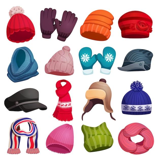 Сезонный зимний шарф шапки шапки перчатки варежки с шестнадцатью изолированных красочных изображений иллюстрации Бесплатные векторы