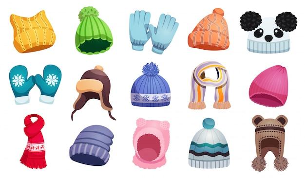 I bambini stagionali dei cappelli della sciarpa dell'inverno hanno messo con quindici immagini isolate dei bambini indossano l'illustrazione Vettore gratuito