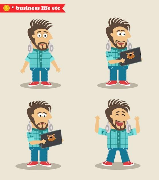 Seasoned IT guy emotions in poses, standing\ set