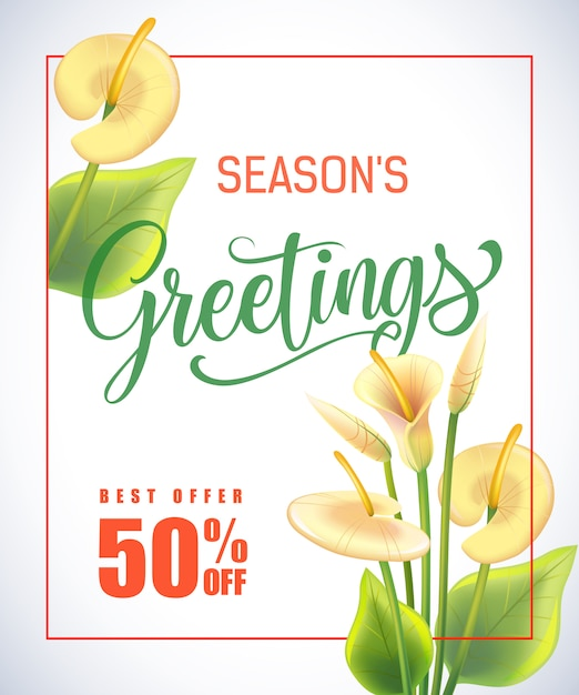 Seasons greeting lettering in frame with arum\ lilies on white background.
