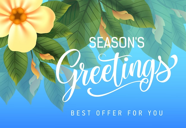 Seasons greetings, best offer for you advertising design with yellow flower and leaves Free Vector