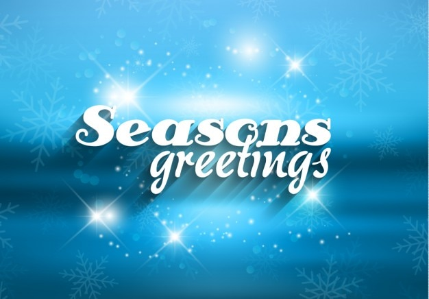 Seasons greetings in blue color