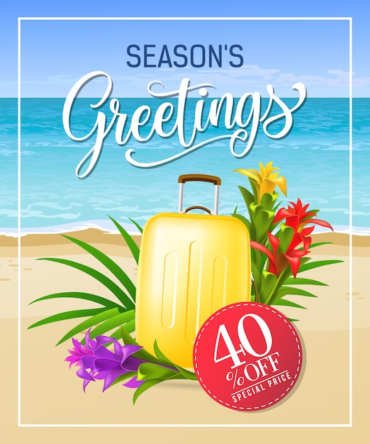 Seasons greetings lettering with sea beach and\ suitcase.