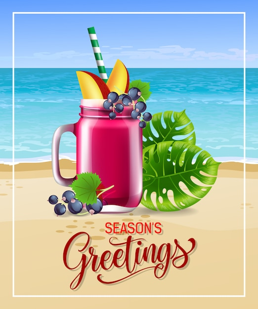 Seasons greetings lettering with sea beach cocktail and leaves. Free Vector