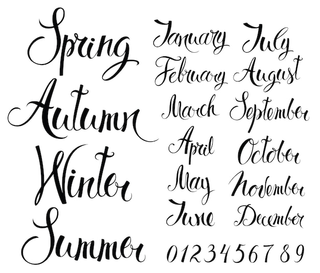 Seasons, months, and numbers Free Vector