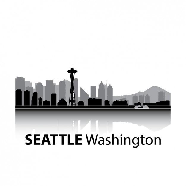 シアトルのスカイラインのデザイン 無料ベクター