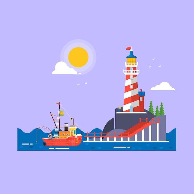 Прохладный плоский дизайн рыбацкой лодке seaway transport.lighthouse на камне камни остров мультфильм вектор фон. Premium векторы