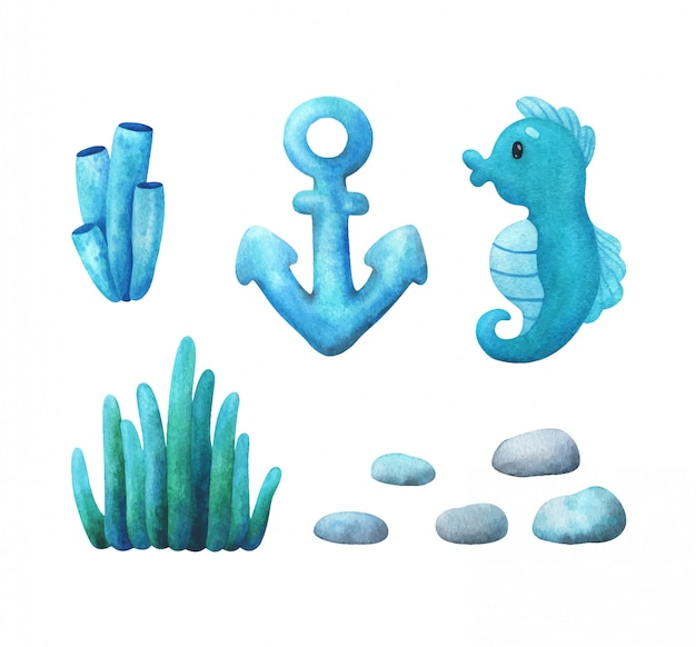Seaweed, corals, seahorse, pebbles and anchors in a blue-green color scheme. set of illustrations Premium Vector