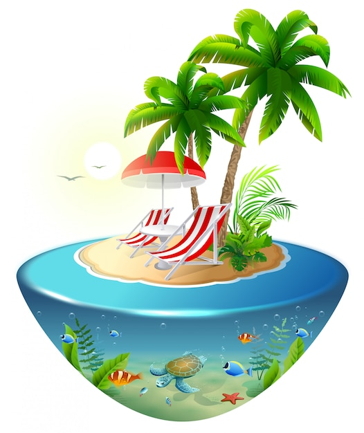 熱帯の島での静かな休暇。 2つの長椅子、ヤシの木、水中世界 Premiumベクター