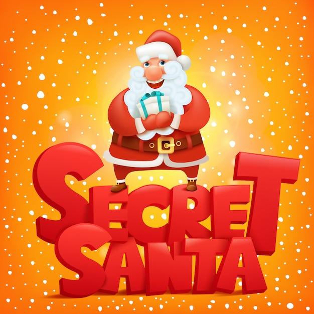 Secret santa claus invitation concept card Premium Vector