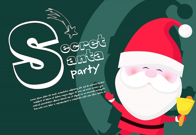 Secret santa party banner with cute santa claus ringing bell Free Vector