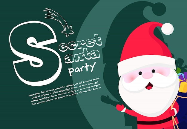 Secret santa party banner with excited santa holding sack Free Vector