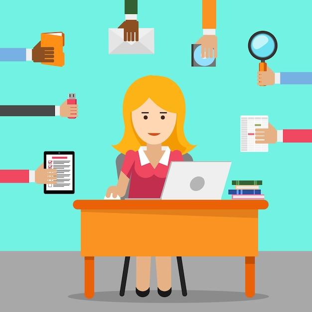 Секретарь. занятая женщина для офисной работы. Бесплатные векторы