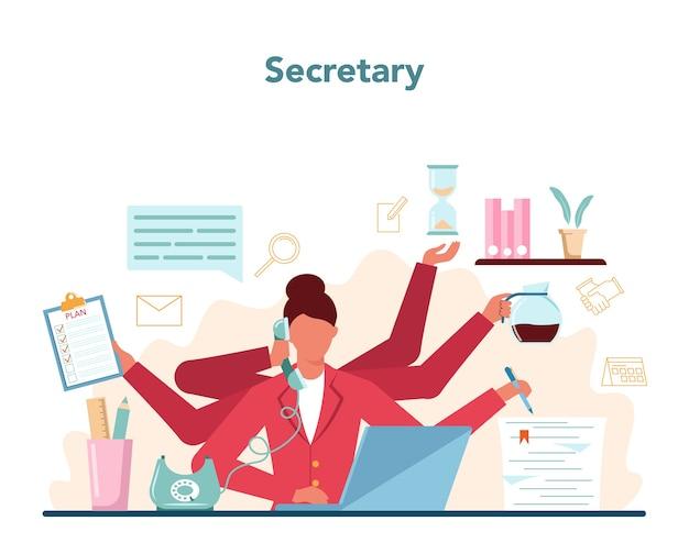 秘書のコンセプト。受付係が電話に出て、書類を手伝います。 Premiumベクター