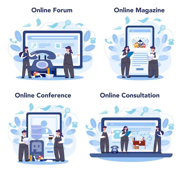 秘書のオンラインサービスまたはプラットフォームセット。受付係が電話に出て、書類を手伝います。オンラインフォーラム、雑誌、会議、相談。 Premiumベクター
