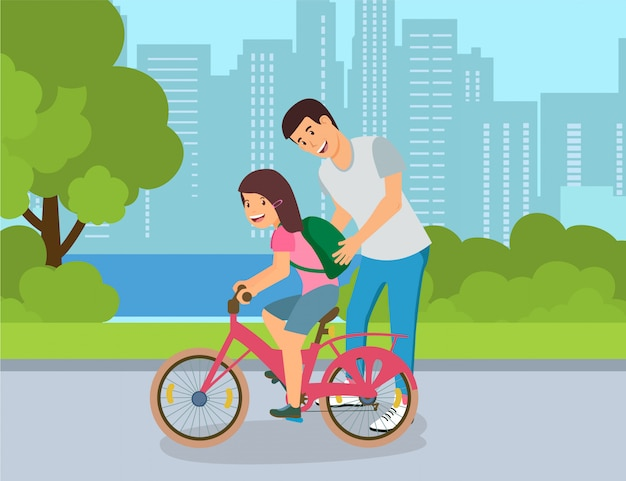 Secrets of successful bike ride for children. Premium Vector