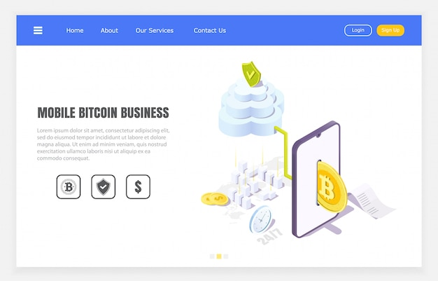 Secure bitcoin transfers through mobile application, isometric illustration. Premium Vector