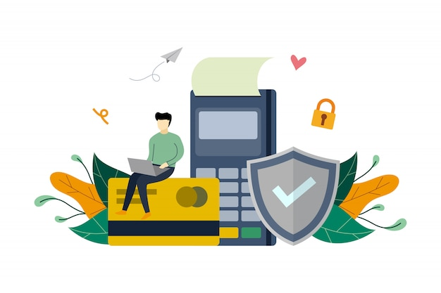 Secure online payment, credit card protection, paying on electronic terminal   flat illustration template Premium Vector