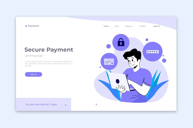 Secure payment landing page concept Free Vector