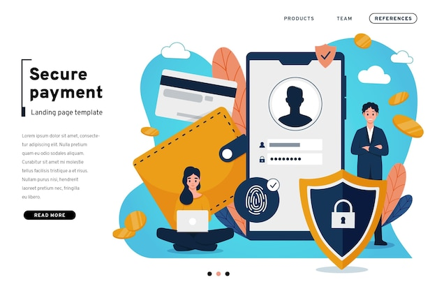 Secure payment landing page template Free Vector