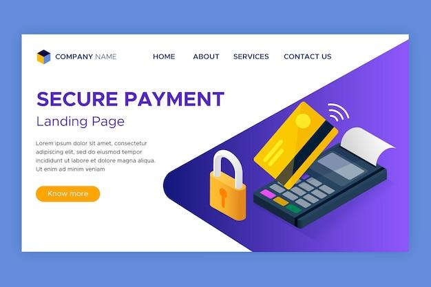 安全な支払いランディングページテンプレート 無料ベクター